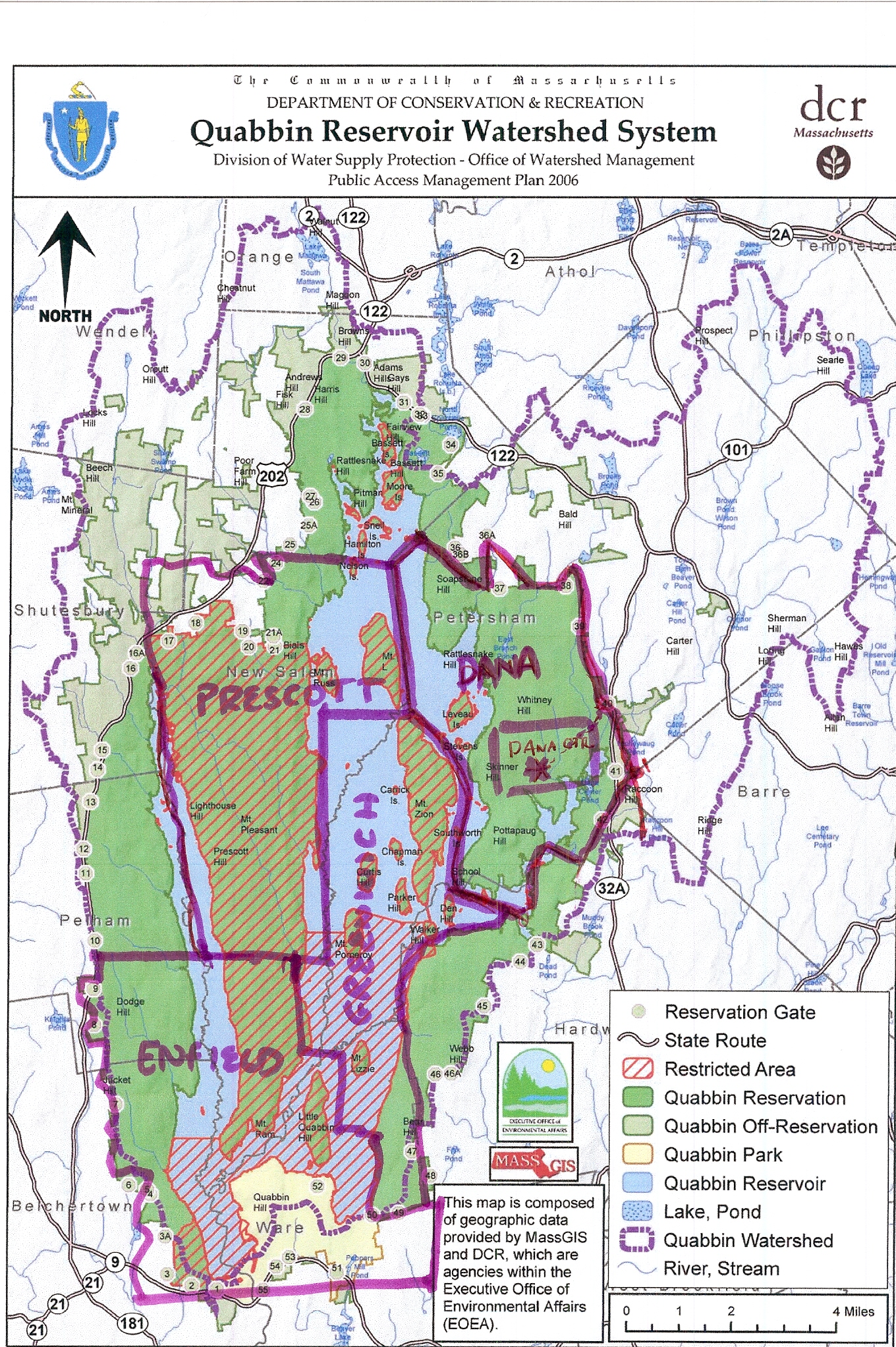 Unled Quabbin Trail Map on